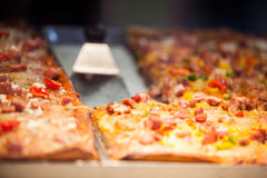 Close-up of pizza in display Stock Image