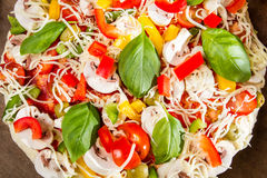 Close-up of pizza just before baking royalty free stock images
