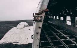 Close up of plane wreck in iceland with no people stock image