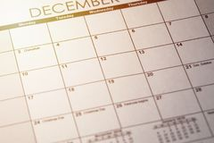 Close up of a daily planner or calendar with a written message for a celebration or holiday. Hanukkah, holiday concept background royalty free stock photography