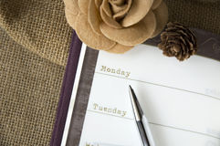 Close up planner page Stock Image