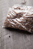 Close up of plastic bags of cooked ground meat. Close up of two small plastic bags of cooked ground meat Royalty Free Stock Images