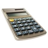 Close-up of plastic calculator isolated on white. Close-up plastic calculator close up office supplies white background Stock Image
