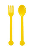 Close up on plastic fork and spoon Royalty Free Stock Photos