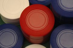 Close-up of plastic gambling chips Royalty Free Stock Image