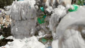 Plastic garbage in the rubbish dump. Close up of plastic garbage in the rubbish dump stock video footage