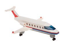 Close up of plastic toy passenger airplane, isolated Royalty Free Stock Images