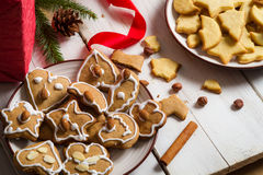 Close-up of a plate of Christmas cookies Stock Image