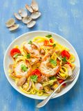 Rustic italian seafood pasta Royalty Free Stock Image