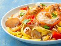 Rustic italian seafood pasta Royalty Free Stock Photos