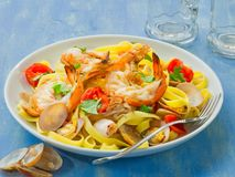 Rustic italian seafood pasta Stock Images