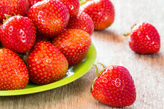 Close-up  of plate with strawberry Royalty Free Stock Image