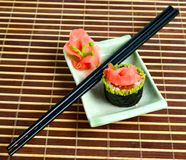 Close-up plate with sushi Stock Photography