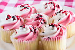 Close Up Plate of Valentines Day Cupcakes Stock Image