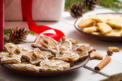 Close-up on the plates full of Christmas cookies royalty free stock images