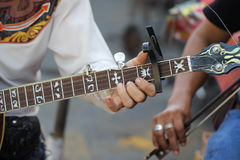 Close up player playing banjo Royalty Free Stock Image