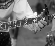 Close up player playing banjo Royalty Free Stock Images