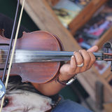 Close up player playing violin Royalty Free Stock Photos
