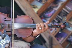 Close up player playing violin Royalty Free Stock Images