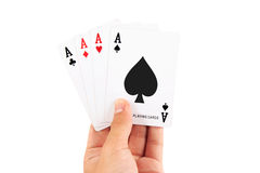 Close-up of playing cards in hand. Stock Photos