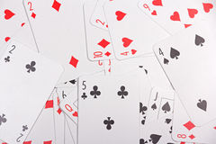 Close up of playing cards with numbers Stock Photography