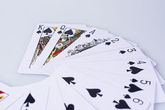 Close Up Playing Cards. Suit of Spades Stock Photography