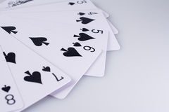 Close Up Playing Cards. Suit of Spades Stock Photo