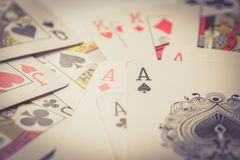 Close up of playing cards vintage Royalty Free Stock Photography