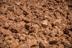 Close up of plowed red soil, arable land. Close up of plowed red soil. Arable land in Algarve Portugal Royalty Free Stock Photos