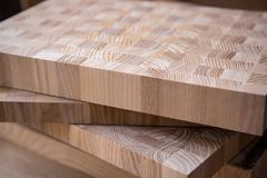 A close up of a plywood boards on the furniture industry. stock images