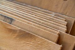 Close-up of plywood sheets. Close up of plywood sheets in woodworking shop Stock Photos