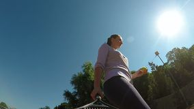 Close up point of view with woman preparing for tennis match stock video footage