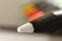 Close up of point of white color pencil Royalty Free Stock Photo