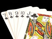 The close up of the poker cards - straight flush Stock Photos
