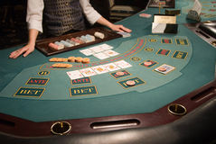 Close-up of a poker table at casino Royalty Free Stock Photos
