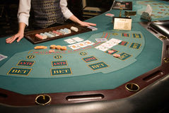 Close-up of a poker table at casino stock photo