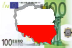 Close up on Poland  on 100 euro banknote Royalty Free Stock Photography