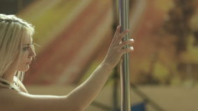 Close up of pole dancer stock footage