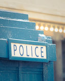 Close-up Of A Police Box. Close-up of A Vintage Blue British Police Box Royalty Free Stock Photography
