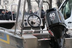 . Close-up of a police motorboat during a parade. royalty free stock photography