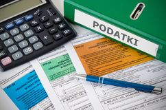 Close up of Polish income tax forms on desk Royalty Free Stock Image