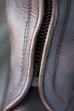 Close up polo boot. Close up of a leather polo boot whit zip stock images