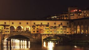 Close up of the Ponte Del Vecchio, Florence at night. Close up night view of the Ponte Del Vecchio in Florence, Italy stock video