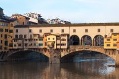 The Ponte Vecchio bridge in Florence, Italy. Close-up of the Ponte Vecchio bridge in the morning sun in Florence, Italy Stock Images