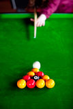 Close-up of a pool gamer Royalty Free Stock Images