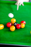 Close-up of a pool player Royalty Free Stock Photos