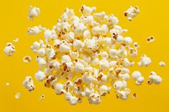 Popcorn On Yellow Background royalty free stock image
