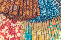 Close up of popular traditional indonesian cotton batik in the shopping mall of Bali island, Indonesia. Royalty Free Stock Photo