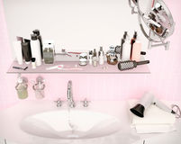 Close-up of porcelain washbasin in pink bathroom. Set for mornin Royalty Free Stock Images