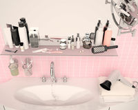 Close-up of porcelain washbasin in pink bathroom. Set for mornin Royalty Free Stock Photography